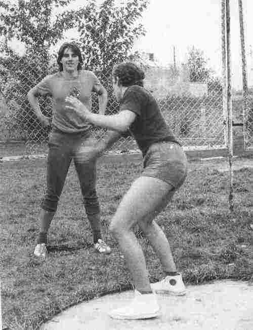Trening dyskoboli - 1976 r.